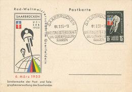 D15256 CARTE MAXIMUM POSTCARD 1955 GERMANY SAAR - CYCLING - Cycling