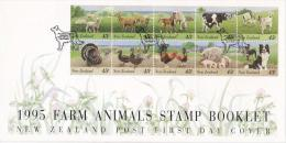 New Zealand 1995 Farm Animals Stamp Booklet FDC - FDC