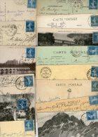 FRANCE....SEMEUSE...25c BLEU...N° 140......VOIR DETAIL...LOT DE 48 TIMBRES SUR CPA........LOT G10 - Used Stamps