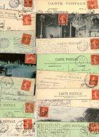 FRANCE....SEMEUSE...10c ROUGE.....N°135..138.....VOIR DETAIL...LOT DE 48 TIMBRES SUR CPA........LOT G19 - Used Stamps