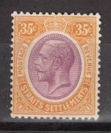 STRAITS  1921  KGV   35 C   MH   NO GUM - Straits Settlements