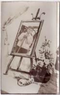 Carte Photo - Montage - Homme Dans Cadre - Chevalet Et Palette Peinture)    (63121) - Fotografía