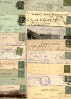 FRANCE....SEMEUSE LIGNEE.....15c VERT GRIS....N°130.... VOIR DETAIL...LOT DE 48 TIMBRES SUR CPA.......LOT G28 - Used Stamps