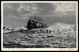 ALTE POSTKARTE SYLT HINDENBURGDAMM MIT DAMPFLOK Eisenbahn Steam Train Locomotive à Vapeur AK Ansichtskarte Cpa Postcard