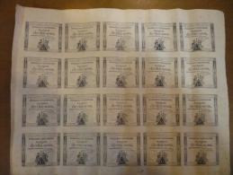 RARE - FEUILLE DE 20 ASSIGNATS DE DIX SOUS 24 OCTOBRE 1792 AN 1 DE LA REPUBLIQUE SERIE 1135 SIGNATURE GUYON - Assignats