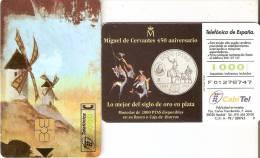 TARJETA DE ESPAÑA DE UNA MONEDA (COIN) 1000 PTAS MOLINOS  ( PUZZLE QUIJOTE) - Sellos & Monedas