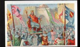 CHROMO FELIX POTIN - BAUDOUIN COMTE DE FLANDRE PROCLAME EMPEREUR D'ORIENT - Félix Potin