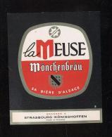 Etiquette De Bière   -  La Meuse Mönchenbräu -   Brassée à Strasbourg Königshoffen - Beer