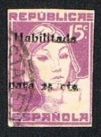 Local República Española 15 Cts. Hab. 25 Cts. Usado (recorte Cartulina) - Sin Clasificación