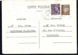 EB164 - ENTIER POSTAL PETAIN 80c  + Affranchissement Complémentaire Mercure - Marseille 1942 - Marcophilie (Lettres)