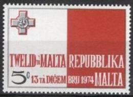 1975  Malta , Republic Proclamation, Flag, Cross, Drapeau, Yvert 501 MNH - Malta