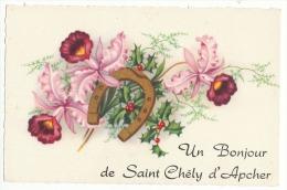 SAINT CHELY D'APCHER -CARTE DE PRESENTATION --UN BONJOUR -BELLE - Saint Chely D'Apcher