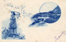 [DC6945] SALUTI DALLA VALLE S. ANDORNO (VERCELLI) - LAGHETTO DI LAMASSA - Viaggiata 1899 - Old Postcard - Vercelli