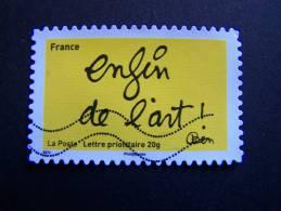 OBLITERE FRANCE ANNEE 2011 N°615 SERIE TIMBRES LES MOTS DE BEN BENJAMIN VAUTIER: ENFIN DE L´ART AUTOCOLLANT ADHESIF - France