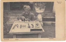 Goldsmith Street Merchant With Tools, Djocja Djokja Indonesia, C1910s Vintage Postcard - Indonesia