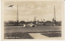 Central Airport Berlin Germany Zentralflughafen, C1920s/30s Vintage Real Photo Postcard - Aerodromi