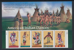 USA 1996 Scott # 3072-3076a. American Indian Dances, Strip Of 5 From Sheet, With Sheet Header And Plate Nr. MNH ** - United States