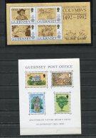 Guernsay (2) Souvenir Sheets MNH Columbus, Victor Hugo's Exhile - Guernsey