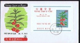1965   Garden Balsam Souvenir Sheet  Unaddressed FDCs Sc 462a - Corée Du Sud