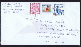 1966 Letter To USA  1 And 20W  Stamps On Granite Paper - Corée Du Sud