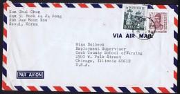 1966 Letter To USA   Sc 519, 525 - Corée Du Sud