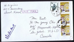 1967  Air Letter To USA   Sc 593 X3 Monkey And Oriental Zodiac - Corée Du Sud
