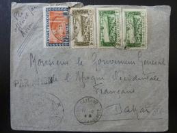 LETTRE AVEC BEL AFFRANCHISSEMENT  AERIEN DE CAYENNE FRANCE LIBRE  1944  CENSUREE PAR AVION => DAKAR   WW2COVER