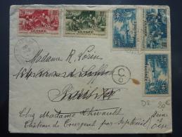 AFFRANCHISSEMENT SUR  LETTRE DE CONAKRY AOF GUINEE  1933 CENSUREE => FRANCE   BELLO COVER