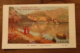 """CHEMIN DE FER PARIS - LYON - MEDITERRANEE  """"prospectus FRANCE -ITALIE Le Lac Majeur - Europa"""