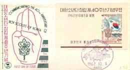1962  40th Ann Boy Scouts Of Korea  Souvenir Sheet Unaddressed FDC   Sc 358a - Korea, South