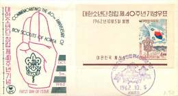 1962  40th Ann Boy Scouts Of Korea  Souvenir Sheet Unaddressed FDC   Sc 358a - Corée Du Sud