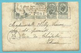 53 Op Kaart Verstuurd Met Correspondentie Onder De Postzegels / Message Secret Sous Le Timbre / Fraude Postale : Text - 1893-1907 Armoiries