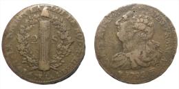 2 Sols 1793/2 BB (France) Overdate - Rare - 1789 – 1795 Monedas Constitucionales