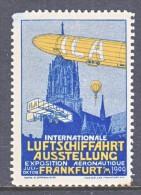 GERMANY  AEROPHILATELIC  VIGNETTE  ZEPPELIN  FRANKFORT  1909   * - Airmail