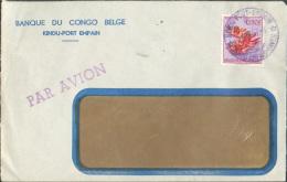 Lettre Par Avion (affranchie 6Fr.50 Fleur) Obl. Sc Bleu KINDU - PORT EMPAIN Le 4-2-1957 Vers Auderghem - 9625 - 1947-60: Lettres