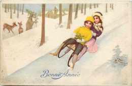 Themes Div- Sports - Ref G279- Illustrateur Enfants - La Luge - Carte Postale Italienne -italie -italia- Italy - - Sports D'hiver