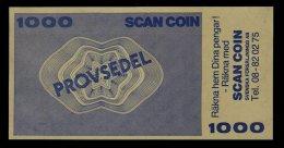 """Test Note """"SCANCOIN"""" 1000 Units, Beids. Druck, RRRRR, Typ C = 160 X 82 Mm, Mit Rekl., UNC, Sehr Alt! - Schweden"""