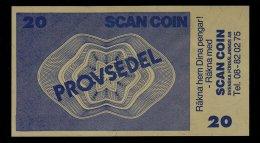"""Test Note """"SCANCOIN"""" 20 Units, Beids. Druck, RRRRR, Typ C = 130 X 72 Mm, Mit Rekl., UNC, Sehr Alt! - Schweden"""