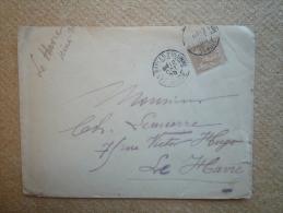 Enveloppe Affranchie Type Sage Pour Le Havre Oblitération Type A Les Sables D'Olonne Vendée - Postmark Collection (Covers)