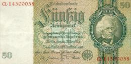 Deutschland, Germany - 50 Mark, Reichsbanknote, Ro. 175 B ,  ( Serie F/Q  ) 1934 ! - 50 Reichsmark