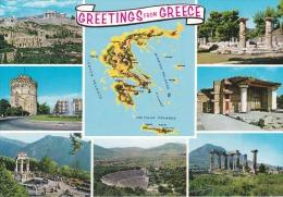 Grecia--Varias Vistas--1990----Franqueo Y Fechador-a, Azille, Francia - Mapas