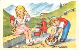Themes Div- Transports - Ref G257- Illustrateur Enfant -crevaison   - Le Scooter  - Theme Scooters - Carte Bon Etat   - - Cartes Postales