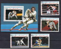 13.8.1987 , Vor-olympische Ausgabe - Judo, Mi-Nr. 906 - 909 + Block  68, Gestempelt, Los 40342 - Estate 1988: Seul