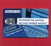 TELECARTE CINQ 1994 PUBLICITE LE GUIDE DES SERVICES SUR MINITEL TIRAGE 65000 EXEMPLAIRES - France