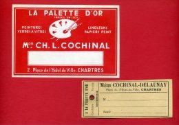 CHARTRES LOT 2 PUBLICITES MAISON COCHINAL LA PALETTE D OR 2 PLACE DE L HOTEL DE VILLE EN SUPERBE ETAT - Reclame