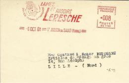 Lettre  EMA Satas Sc  Lames Et Rasoirs Leresche Coiffeur Barbier 1961 Metiers Themes 89 St Julien Du Sault  A2/02 - Non Classés