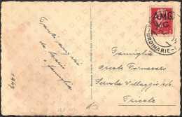 """AMG-VG - CARTOLINA """"BUONA PASQUA"""" CON FRANCOBOLLO IMPERIALE DA L. 2 - ANNULLO TRIESTE 4.4.1947 CATALOGO SASSONE NUMERO 9 - 7. Trieste"""