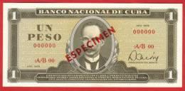 BILLET - CUBA  - 1 Peso Série 1978 ( SPECIMEN ) - Pick 102b - Cuba