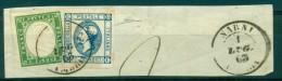 REGNO 1863 AFFRANCATURA BICOLORE  SARDEGNA 5 C + 15 C  BOLLO A DOPPIO CERCHIO  NARNI 1/07/1863 - Sardaigne
