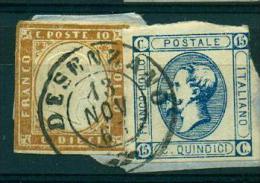 REGNO 1863 SARDEGNA AFFRANCATURA BICOLORE   10 C + 15 C  BOLLO  DESENZANO - Sardaigne